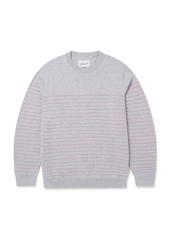 Stripe Crew Neck Sweater in Grey Marl / Pink