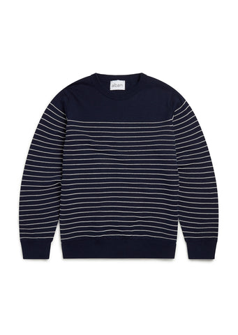 Stripe Crew Neck Sweater in Navy/Ecru