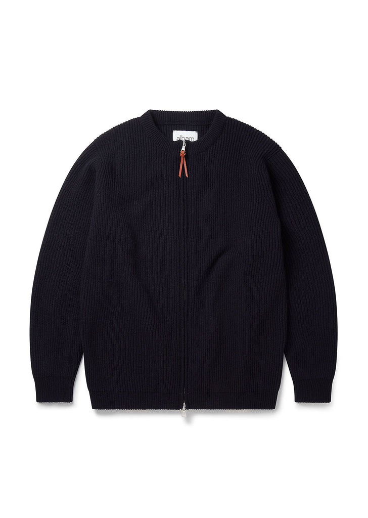 Zipped Ribbed Crew in Navy