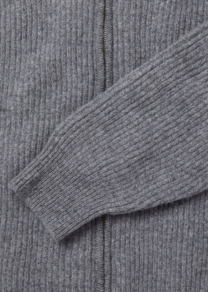 Zipped Ribbed Crew in Grey