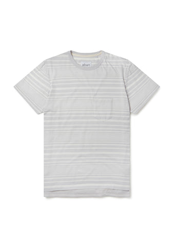 Archive Stripe T-Shirt in White/Lilac