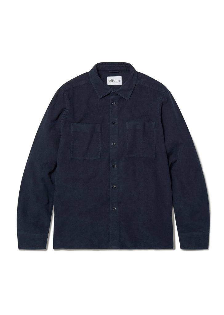 Nash Moleskin Shirt in Navy
