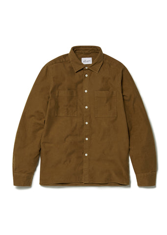 Nash Moleskin Shirt in Mid Brown