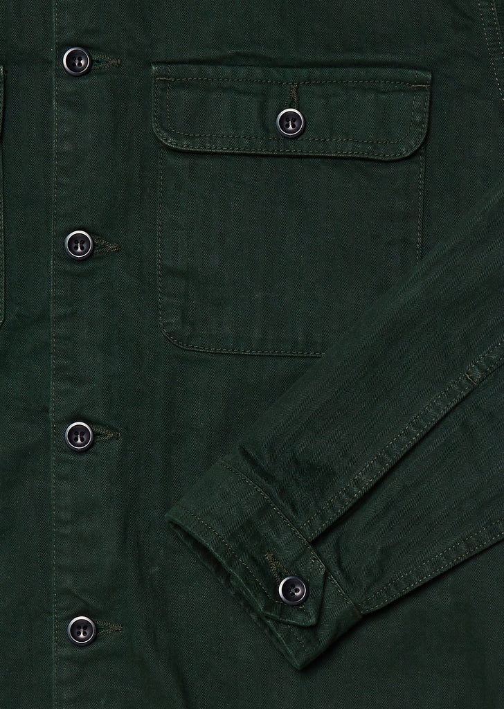 Press Herringbone Shirt in Olive Green