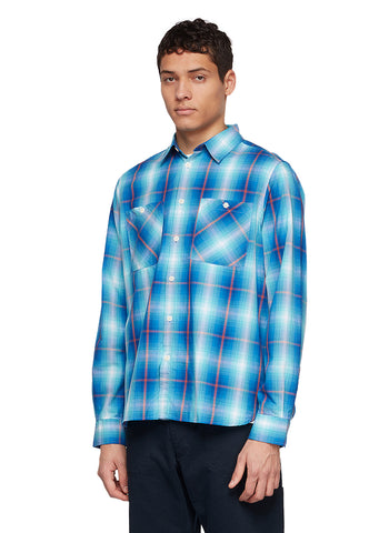 Utility Check Overshirt in Teal Check