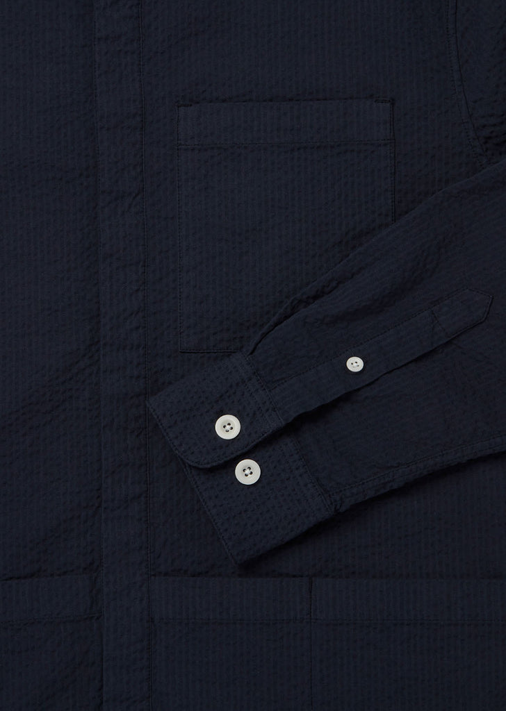 Seersucker Apron Pocket Gardening Shirt in Navy