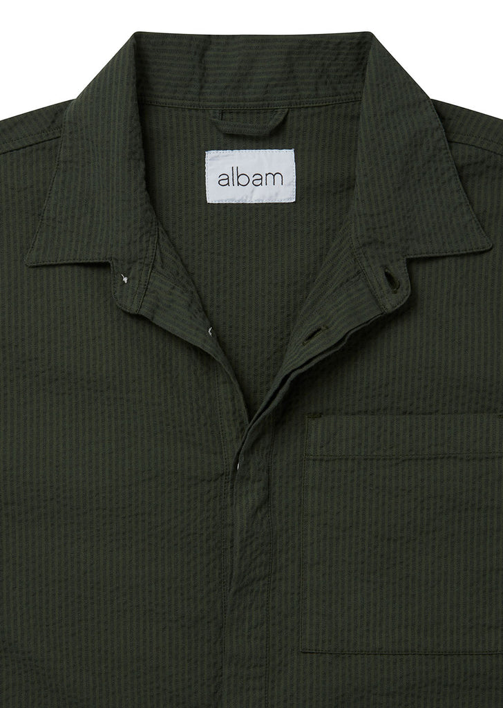 Seersucker Apron Pocket Gardening Shirt in Pine Green