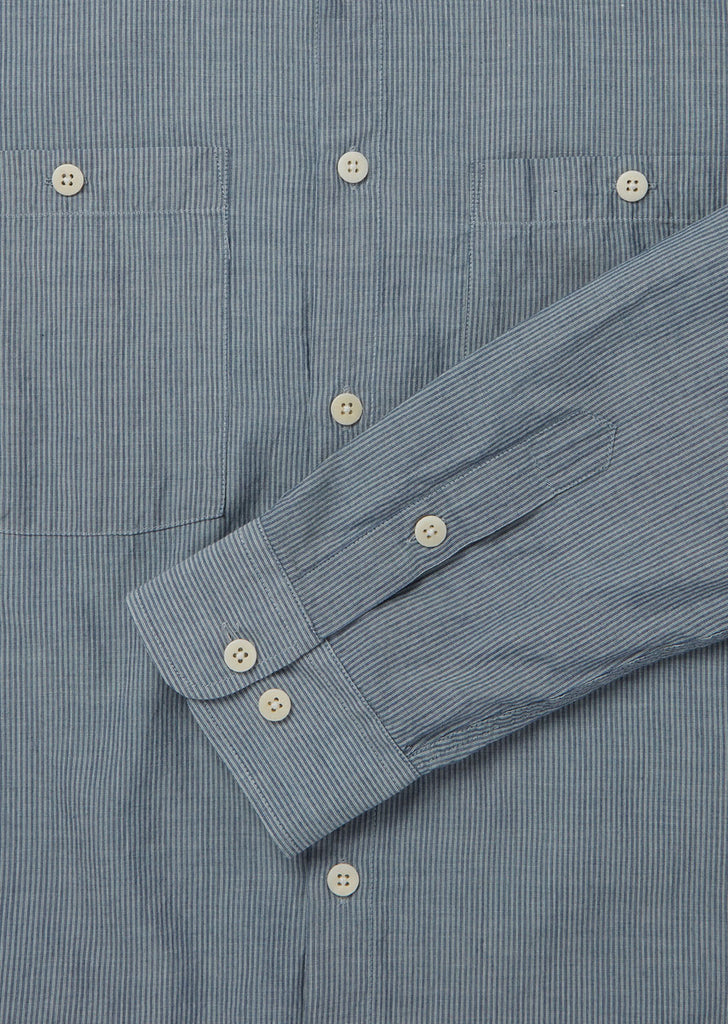 Utility Factory Check Overshirt in Blue Stripe