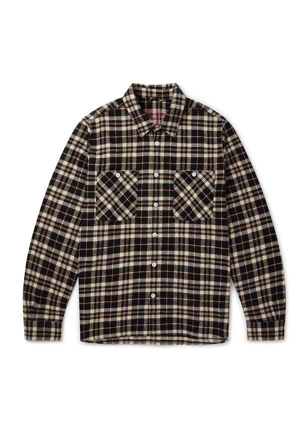 Utility Factory Check Overshirt in Tan Check