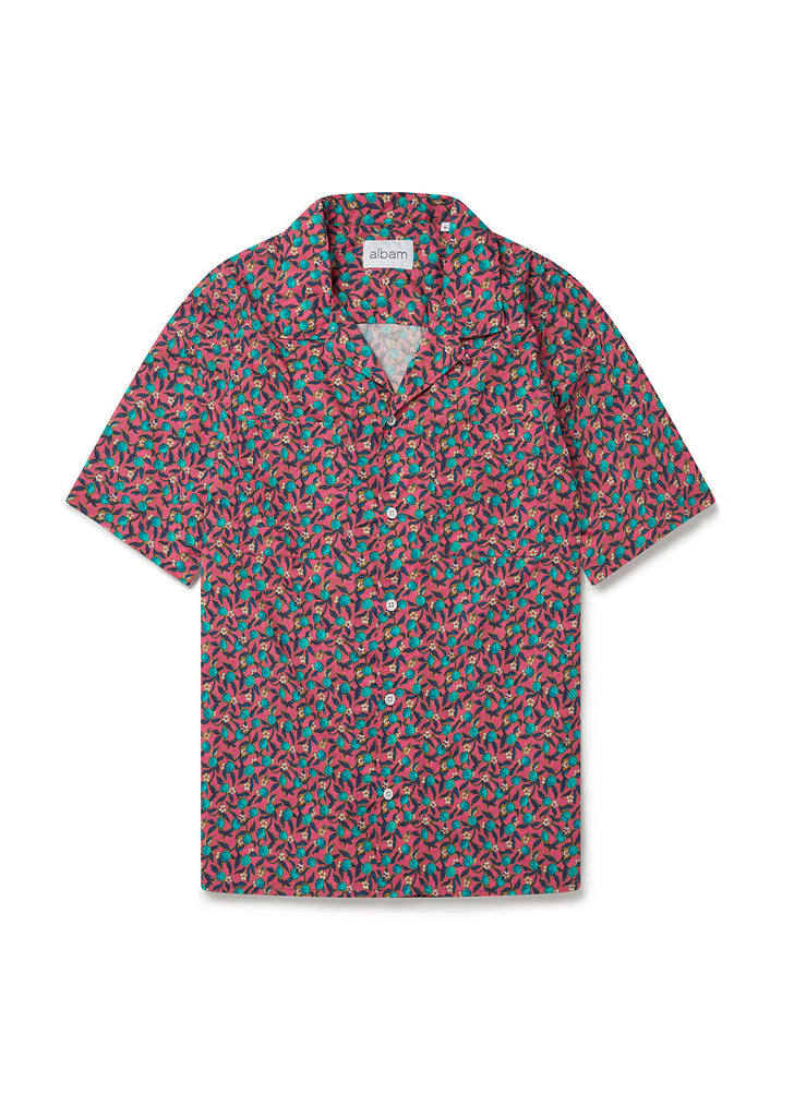 Short Sleeve Revere Collar Shirt in Teal Apples