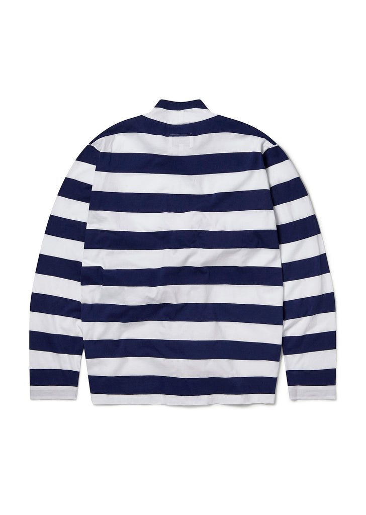 Striped Funnel Neck Tee in Navy