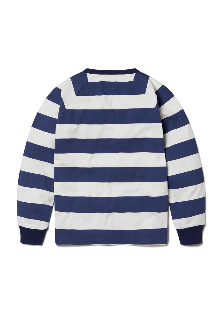 Striped Raglan Sweatshirt in Navy