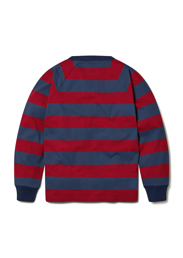Striped Raglan Sweatshirt in Red
