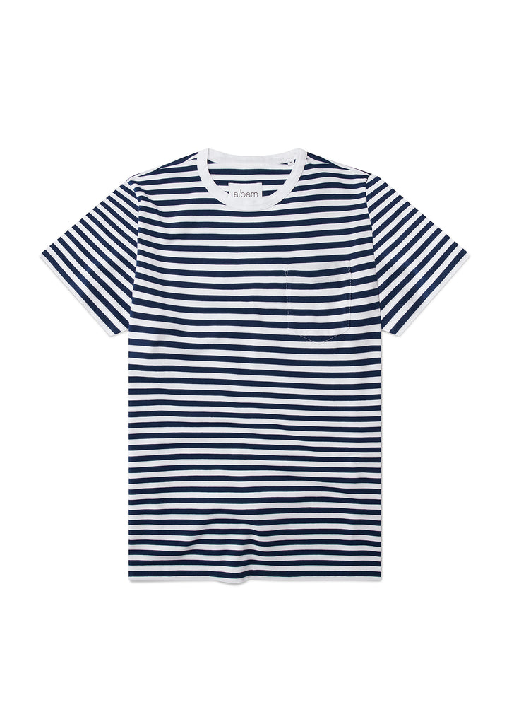Pocketed Stripe T-Shirt in Navy