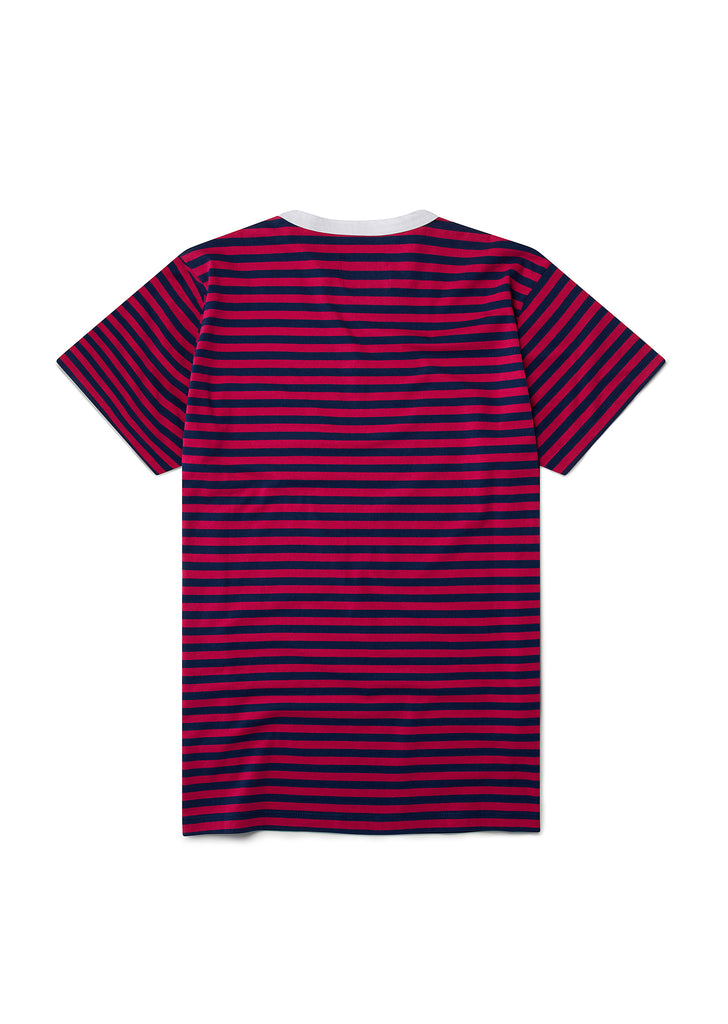 Pocketed Stripe T-Shirt in Raspberry