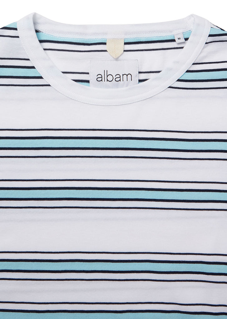 Heritage Stripe SS Tee in White/Light Blue/Navy
