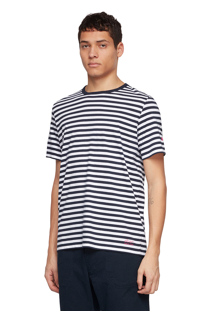 Utility Engineered Stripe T-Shirt in Navy/White