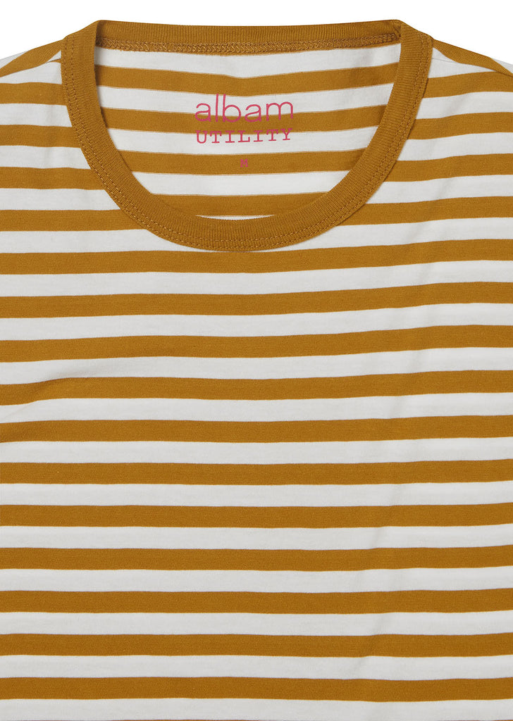 Utility Engineered Stripe T-Shirt in Tobacco/White