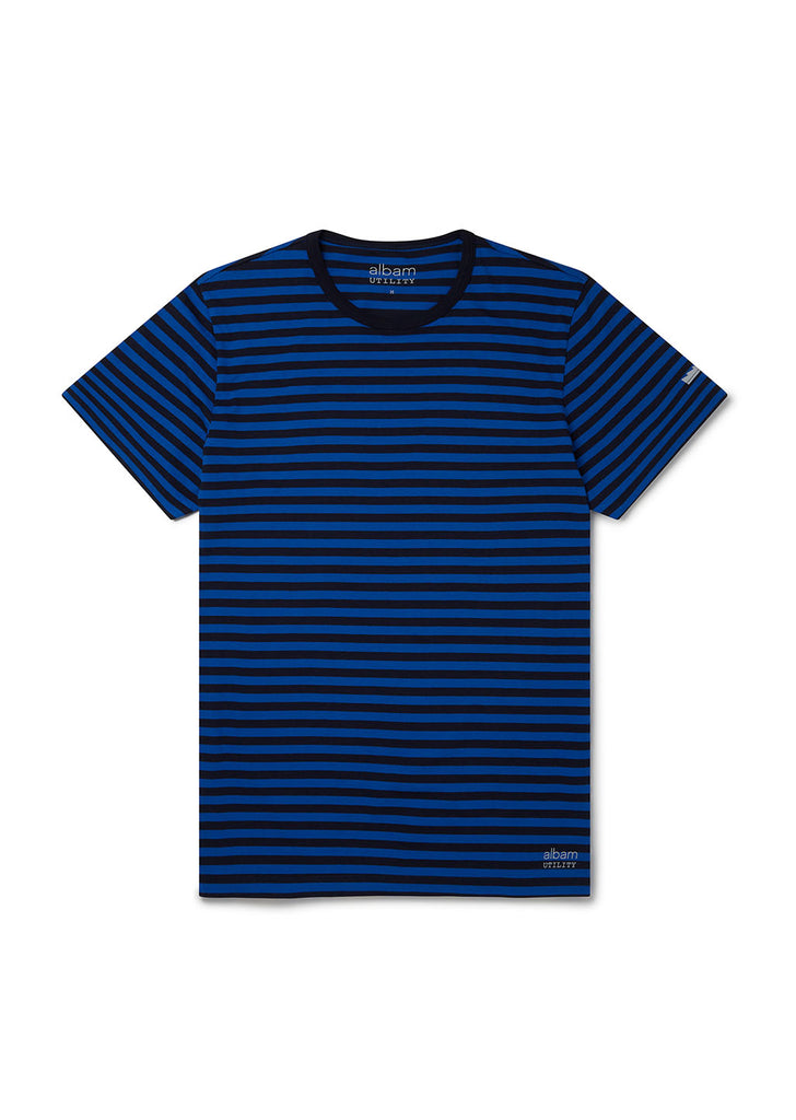 Utility Engineered Stripe T-Shirt in Bold Blue