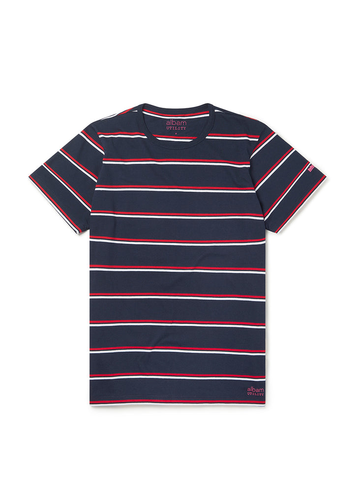 Utility Wide Stripe SS T-Shirt in Navy/Red