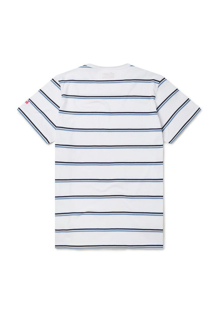 Utility Wide Stripe SS T-Shirt in White/Navy