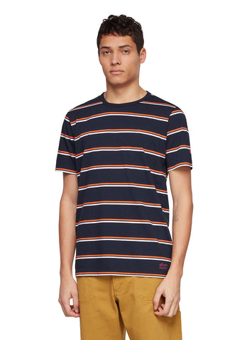 Utility Wide Stripe SS T-Shirt in Navy/Orange