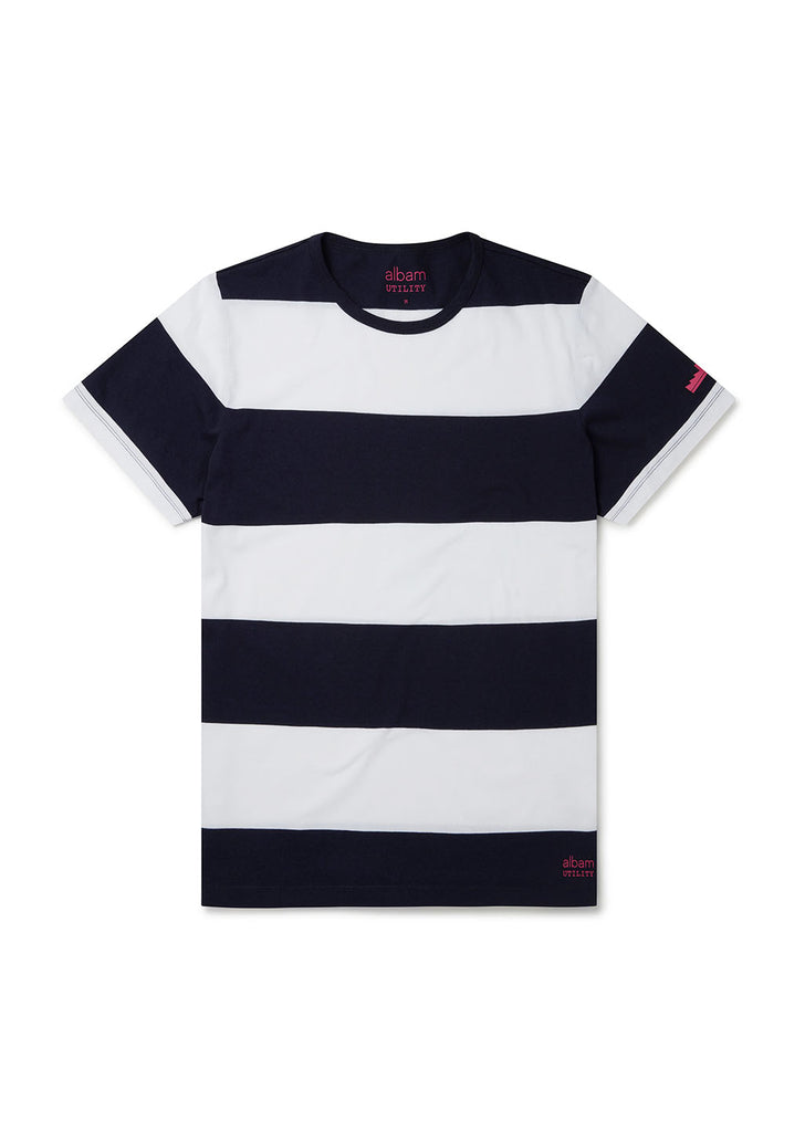Utility Block Stripe T-Shirt in Navy