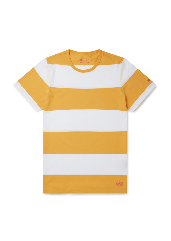 Utility Block Stripe T-Shirt in Golden Yellow