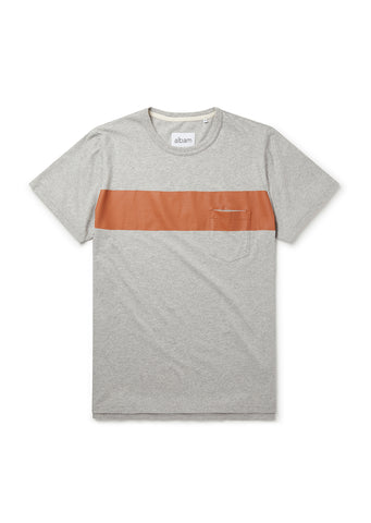 Panel Print T-Shirt in Grey Marl/Rust