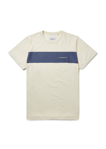 Panel Print T-Shirt in Ecru/Navy