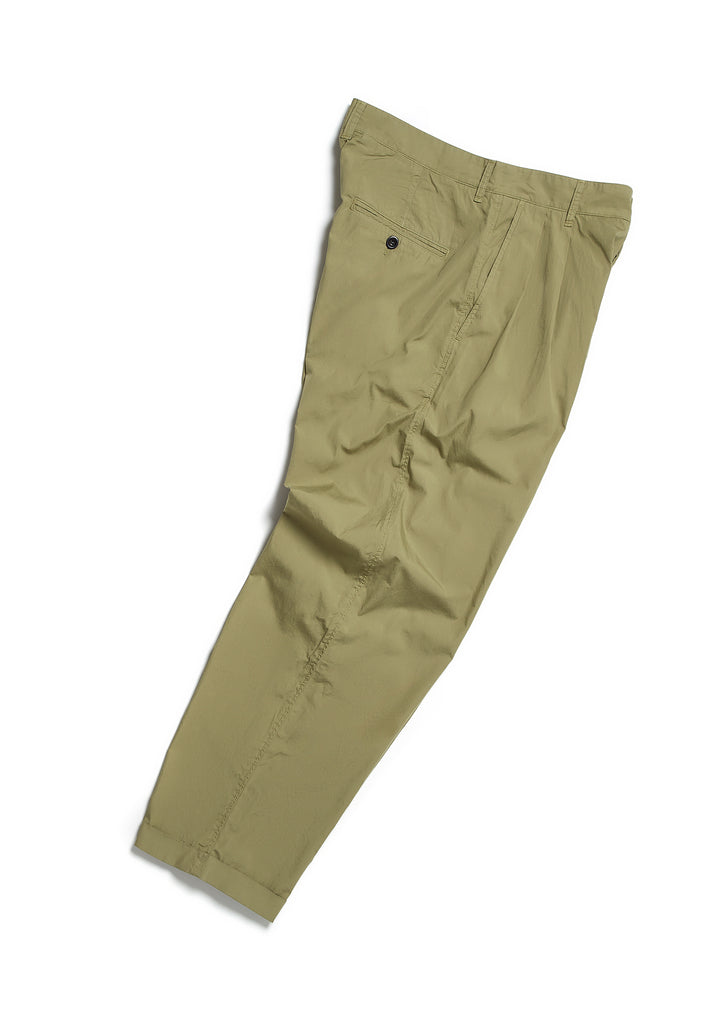 Pleated Parachute Trouser in Olive Green