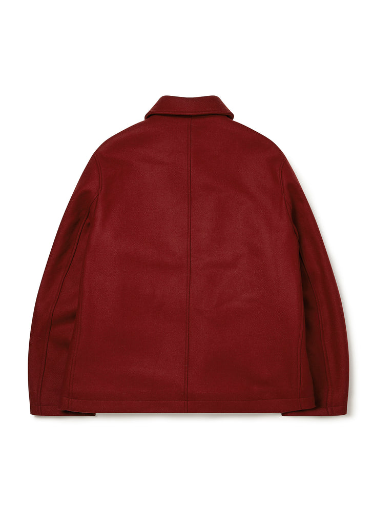 Fleece Lined Blanket Coat in Dark Red