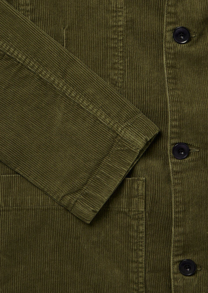 Cord Board Blazer in Dark Olive