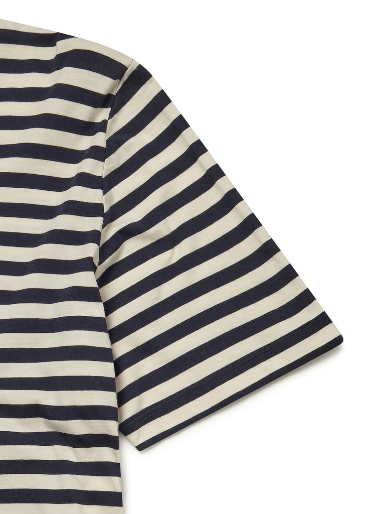 Simple Stripe T-Shirt in Navy with Ecru Stripe