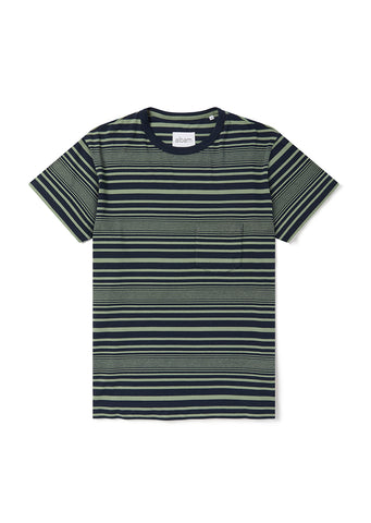 Archive Stripe T-Shirt in Oil Green
