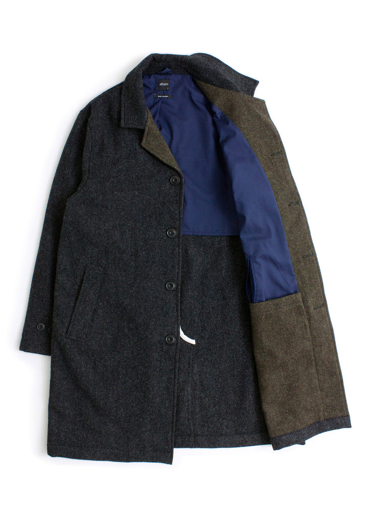 Washed Wool Car Coat in Charcoal