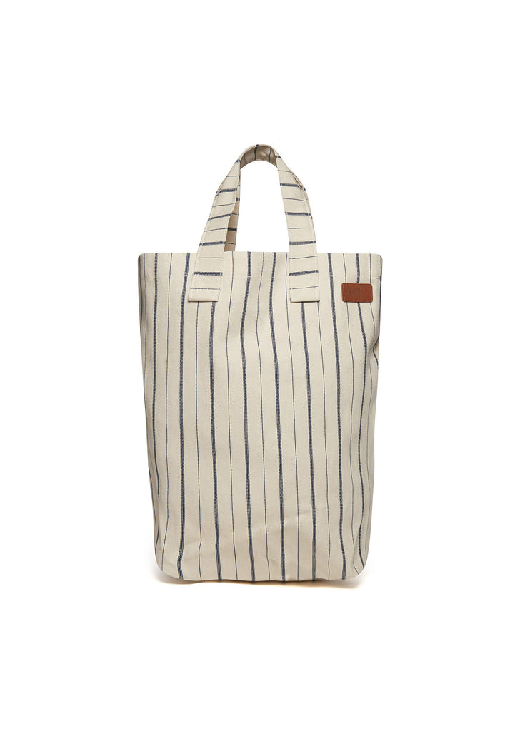 Canvas Shopper in Ivory Stripe