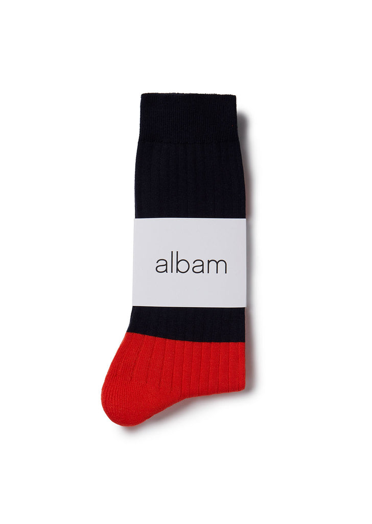 Colour Blocked Sock in Navy / Red
