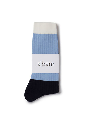 Colour Blocked Sock in Light Blue / Navy