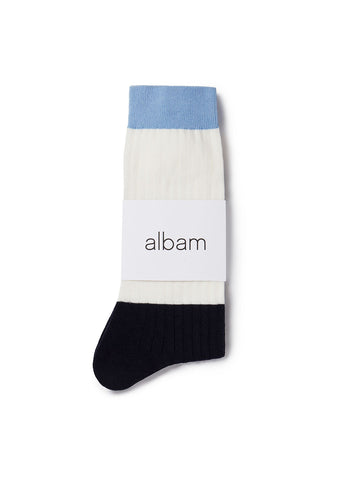 Colour Blocked Sock in White / Navy