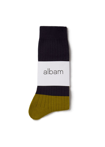 Colour Blocked Sock in Tobacco / Navy