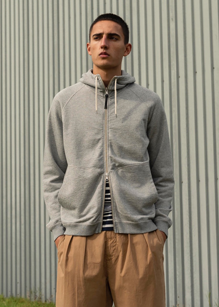 Archive Zip Hoody in Grey Marl