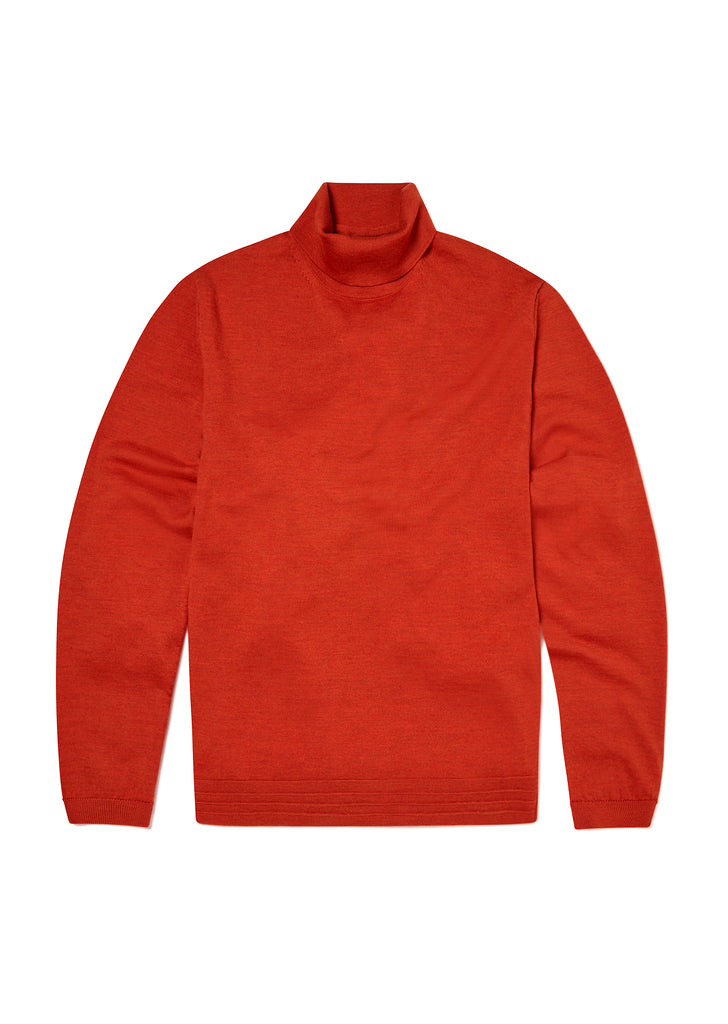 Merino Turtle Neck in Burnt Orange