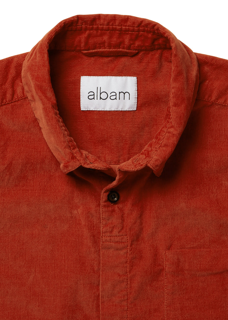 Corduroy Prep Shirt in Burnt Orange