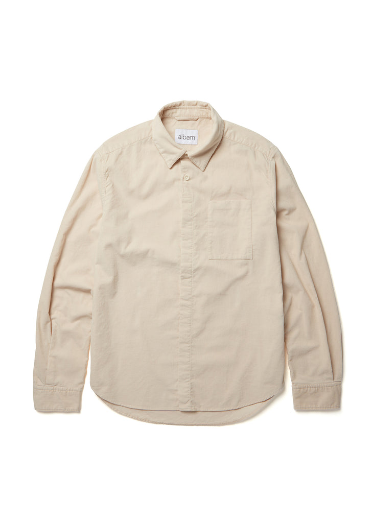 Corduroy Prep Shirt in Ecru