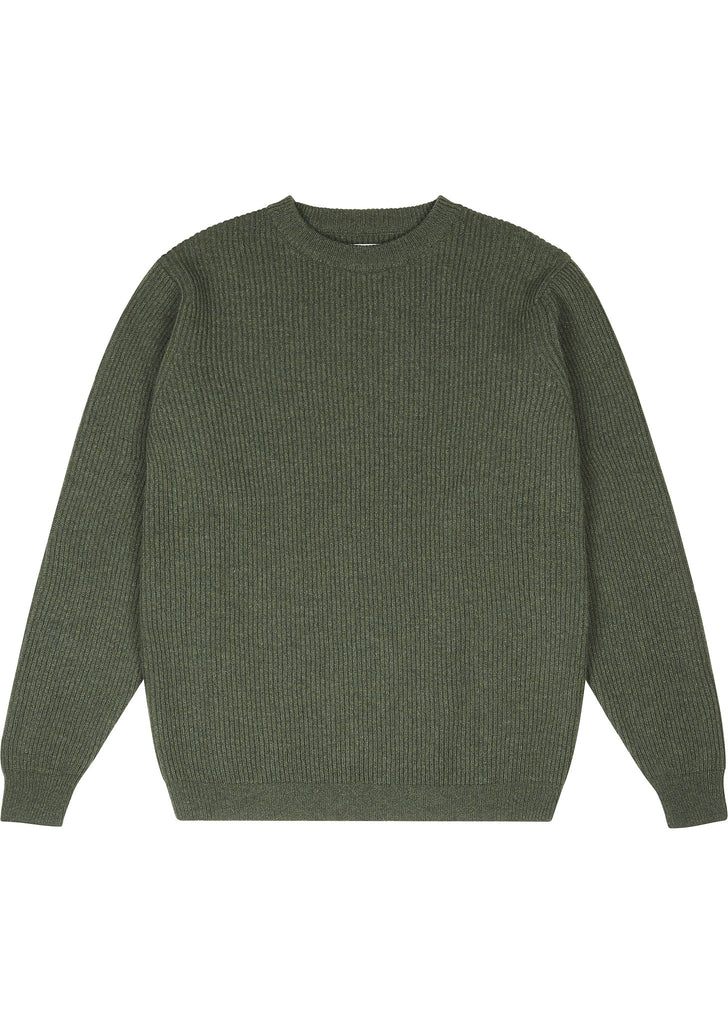 Ribbed Crew in Olive