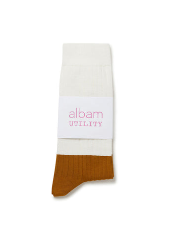 Utility Sock in White Tobacco