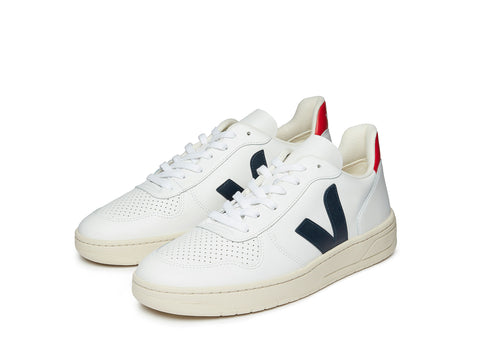 Veja V-10 in Extra White Navy Red