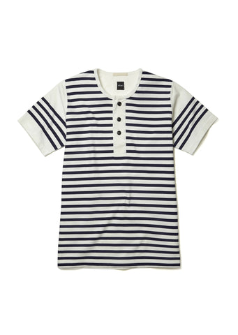 Print Stripe Henley T-shirt in French Blue / White