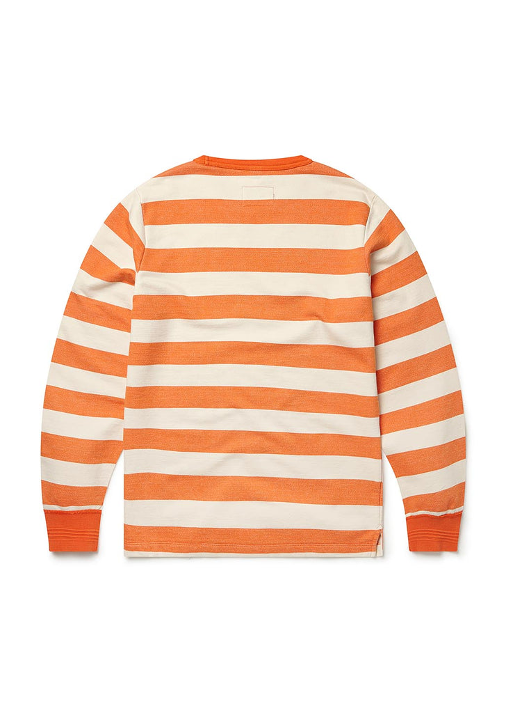 Stripe Ribless Hem Sweat in Orange